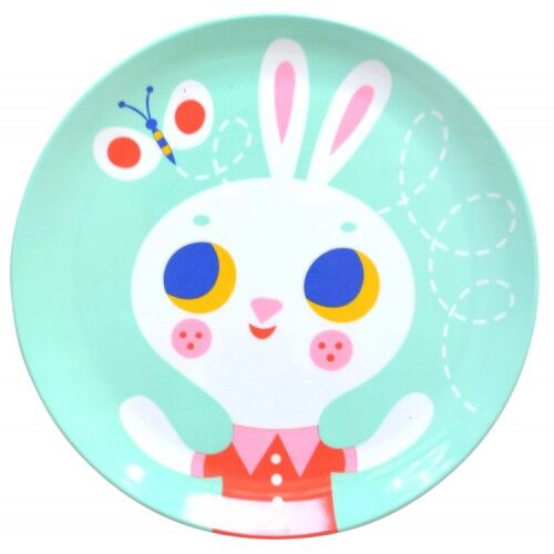 Melamine plate rabbit mint