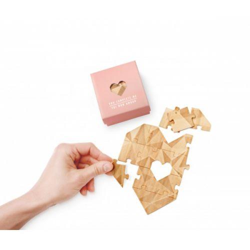 Houten hart puzzel roze doosje