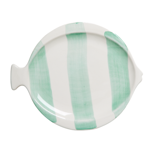 Striped fish shaped lunch plate green