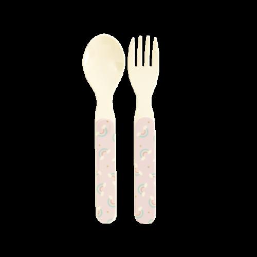 Melamine kids spoon and fork rainbow print