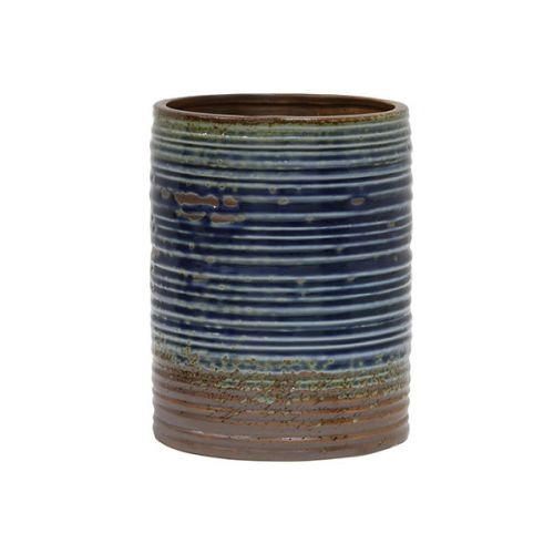 Ceramic flower pot blue brown