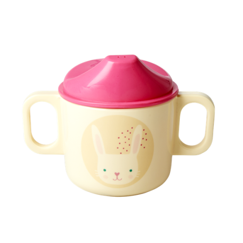 Melamine baby cup 2 handles and lid rabbit