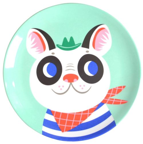 Melamine plate french bulldog mint
