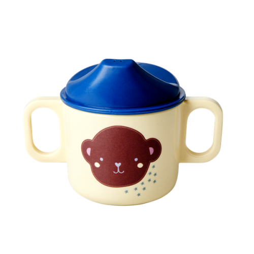 Melamine baby cup 2 handles and lid monkey