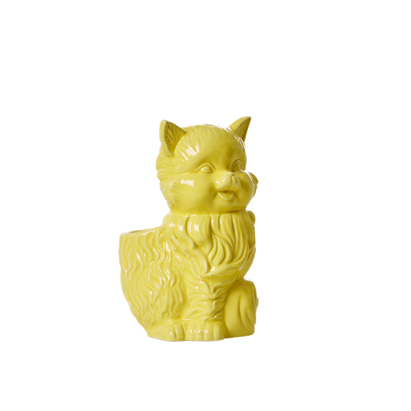 Ceramic cat toothbrush holder yellow