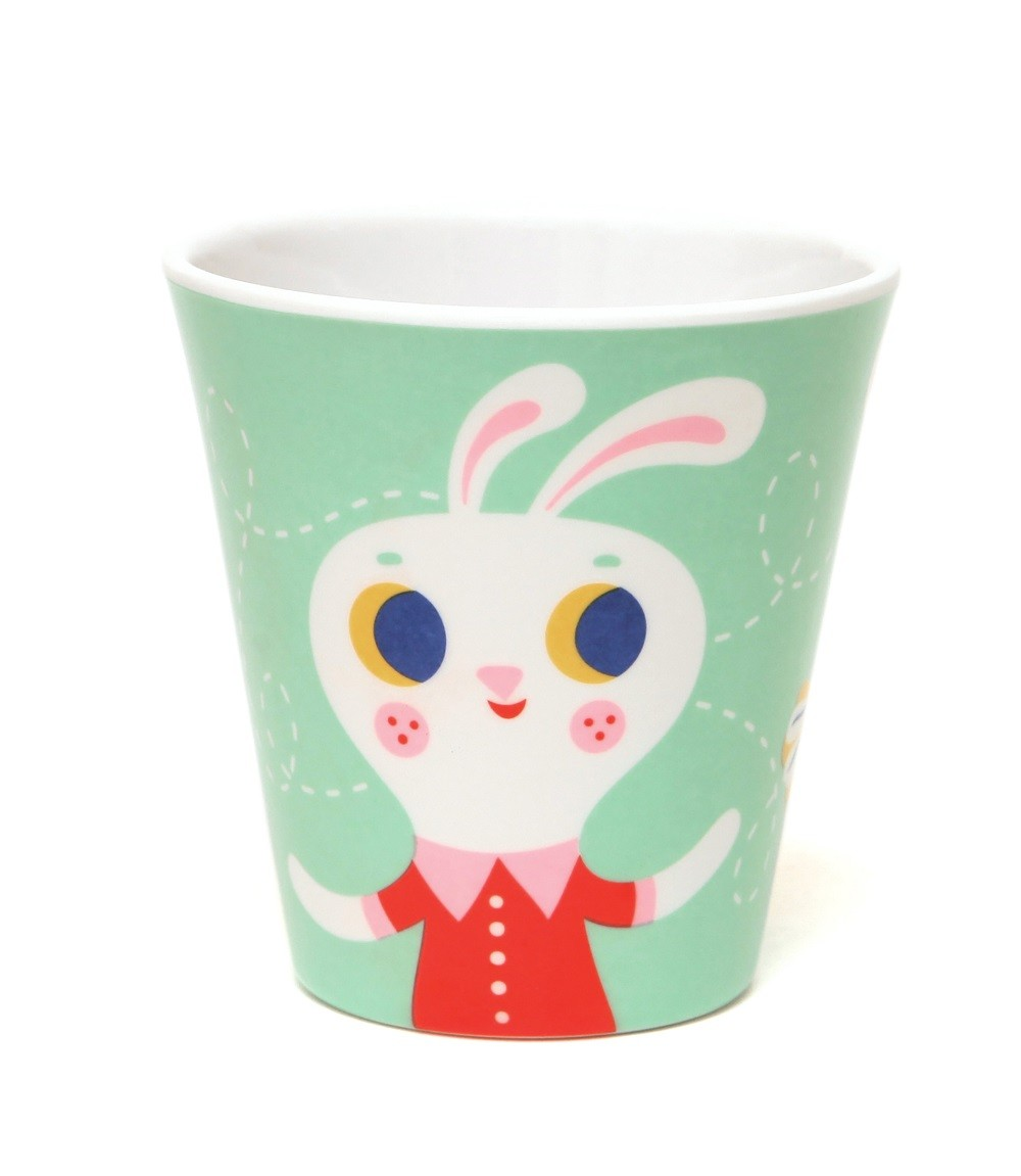 Melamine cup fox & rabbit mint