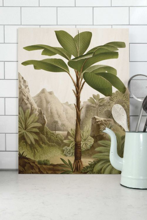 Wood print banana tree large