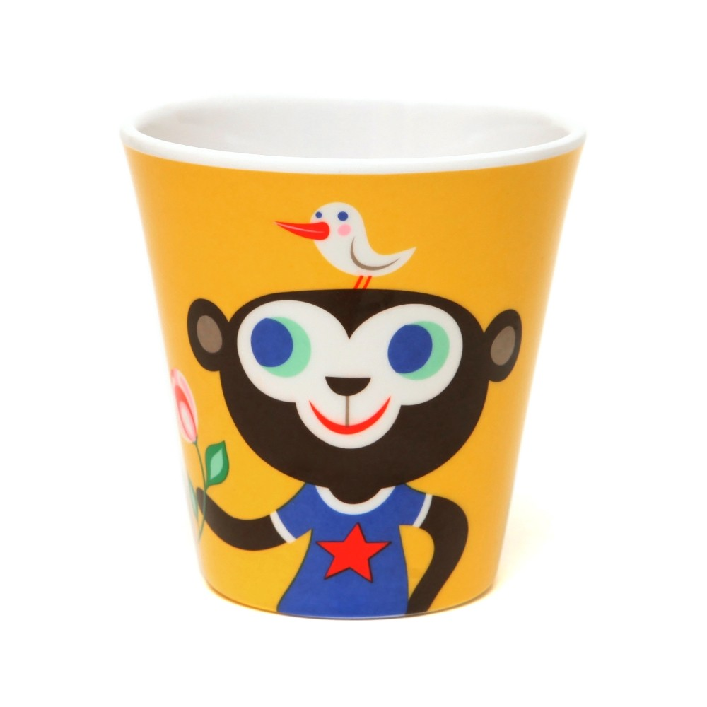 Melamine cup monkey & bulldog yellow