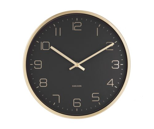 Wall clock gold elegance black