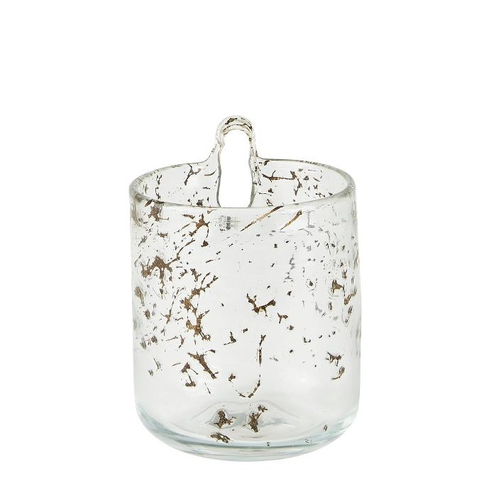 Flower pot wall glass clear small