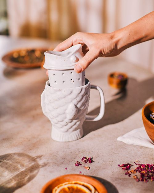 Taiyaki tea mug infuser cream