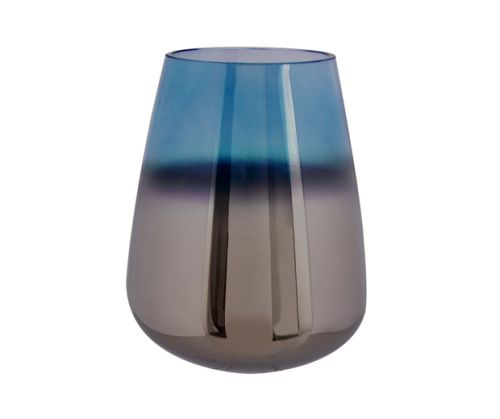 Vase oiled glass blue large