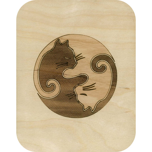 Wooden card ying yang cats