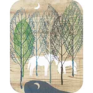 Wooden card horses in moonlight forest