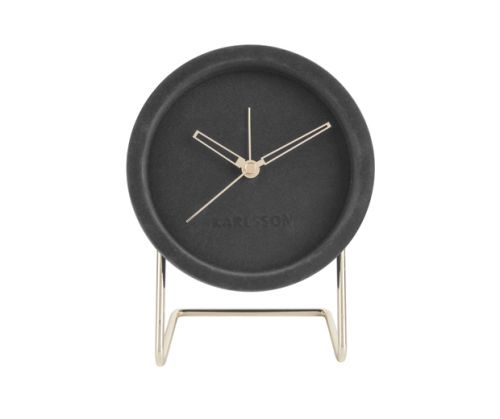 Alarm clock lush velvet dark grey