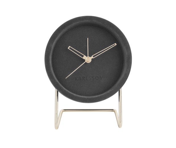 Alarm clock lush velvet dark grey