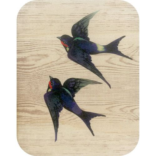 Wooden card 2 swallows