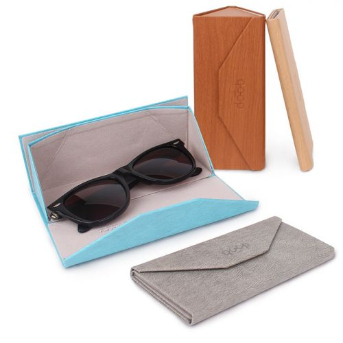 QP foldable glasses case navy blue