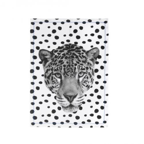 Tea towel leopard face blue stitch