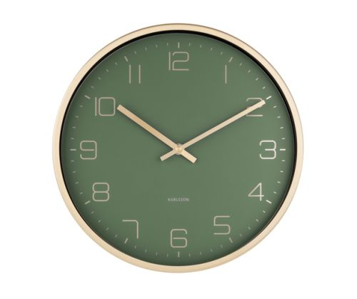 Wall clock gold elegance green