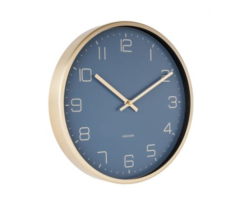 Wall clock gold elegance blue
