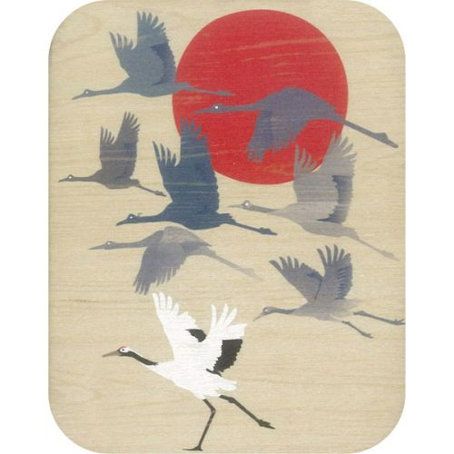 Wooden card flock of cranes