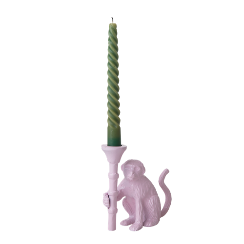 Monkey metal candle holder soft pink