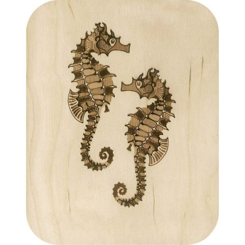 Wooden card seahorses
