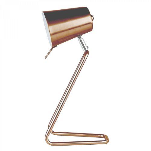 Table lamp Z metal copper satin finish