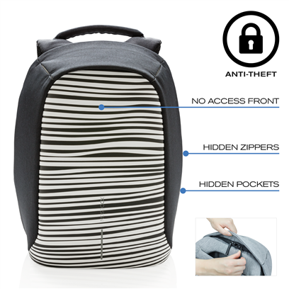 Bobby compact anti-theft backpack zebra