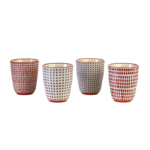 Cups red dotties set van 4