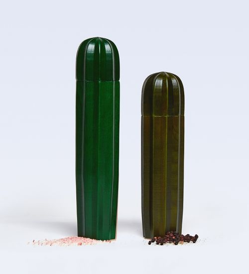 Cacti salt & pepper mills green wood