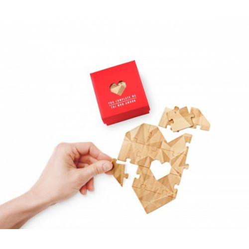 Houten hart puzzel rood doosje