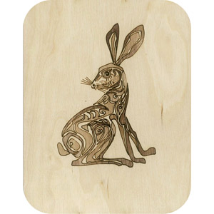 Wooden card hare
