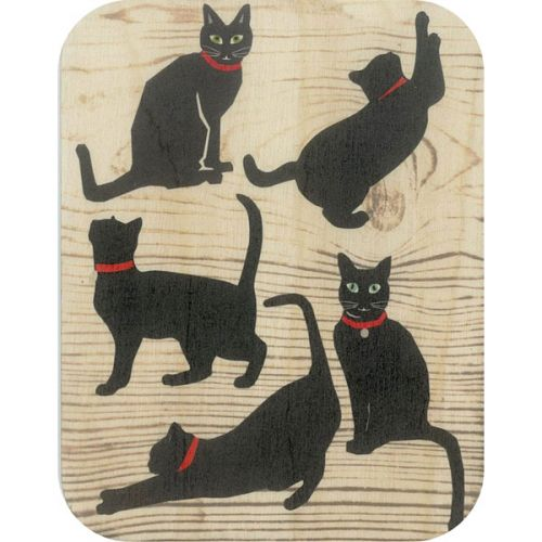 Wooden card black cats