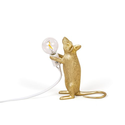 Mouse lamp standing gold