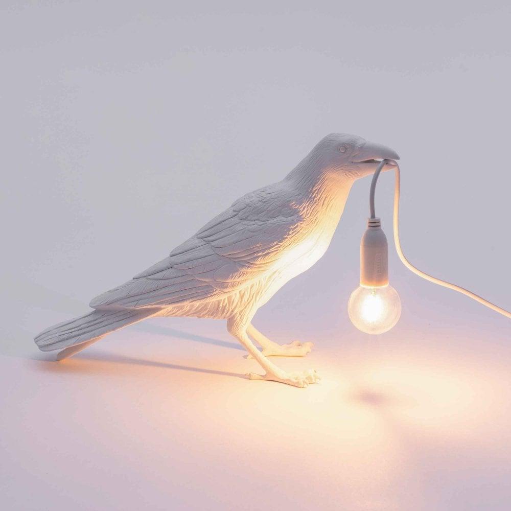Bird lamp waiting white