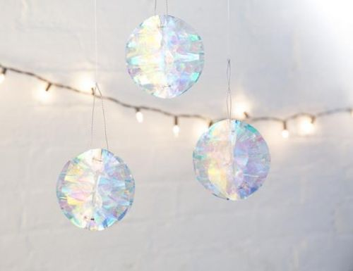 Iridescent party ornament set of 6