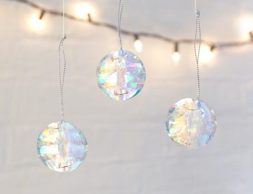 Mini iridscent party ornament set of 6