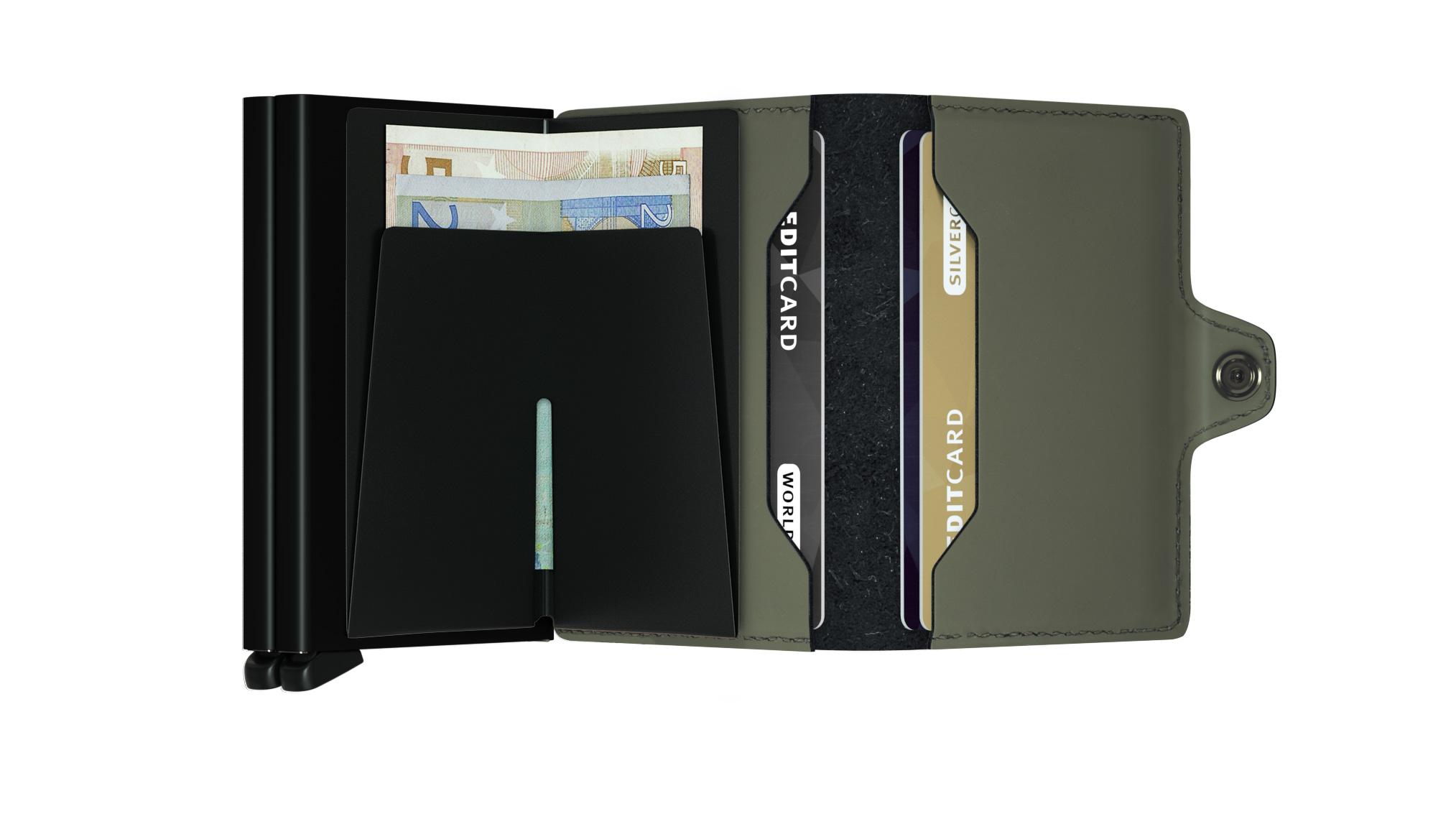 Twin wallet matte green