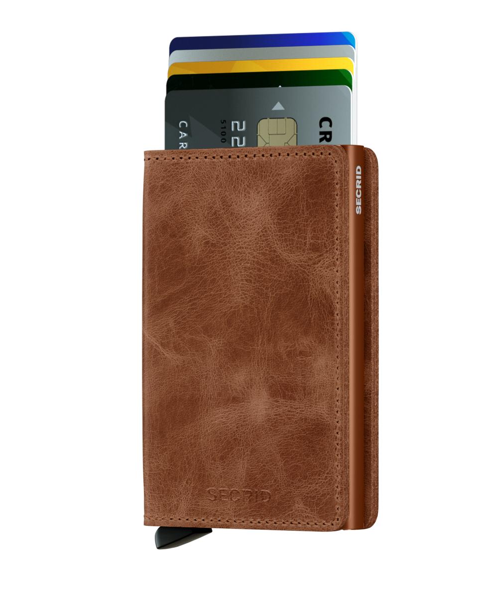 Slim wallet vintage cognac rust