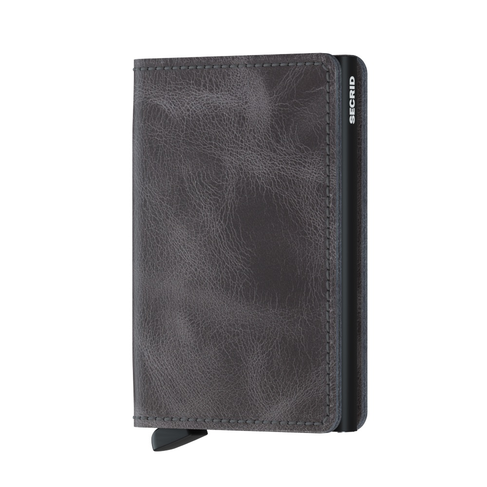 Slim wallet vintage grey-black