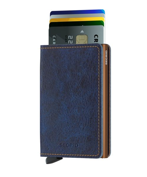 Slim wallet indigo rust