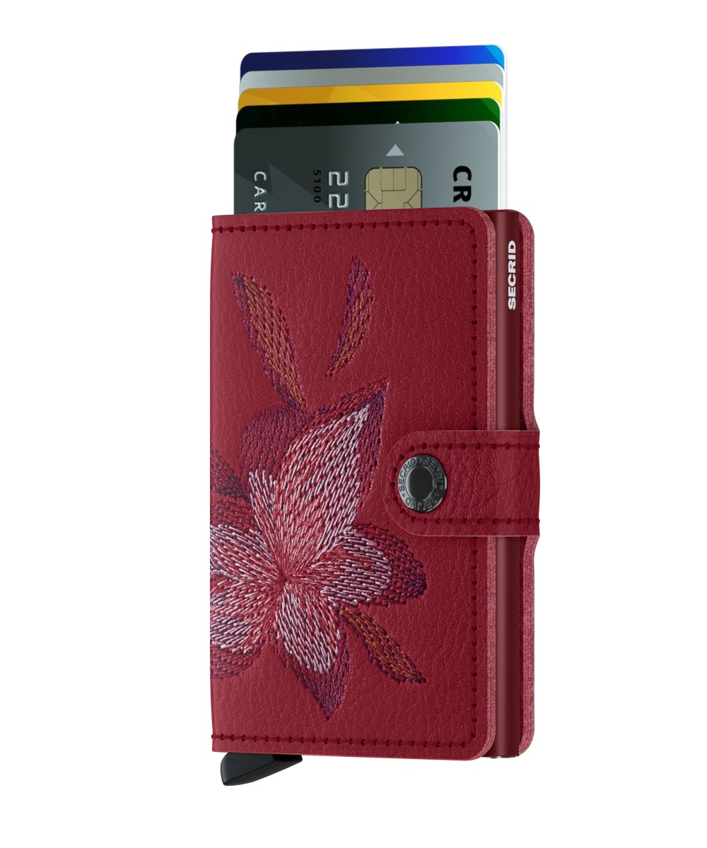 Mini wallet stitch magnolia rosso