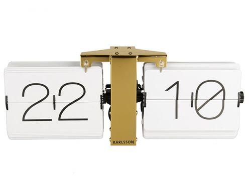 Flip clock no case white brass