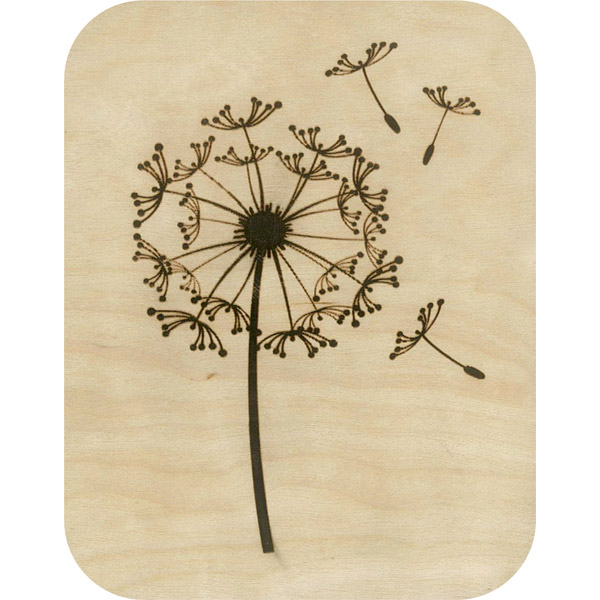 Wooden card dandelion clock