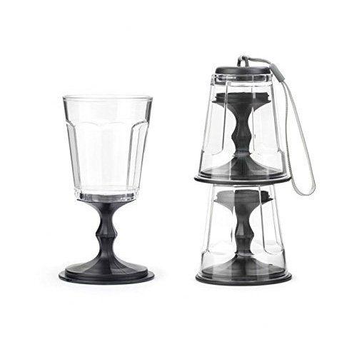 Stacking wine glass black set of 2