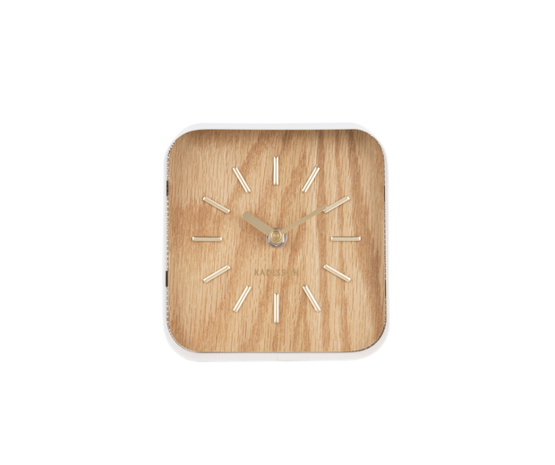 Table clock squared white steel