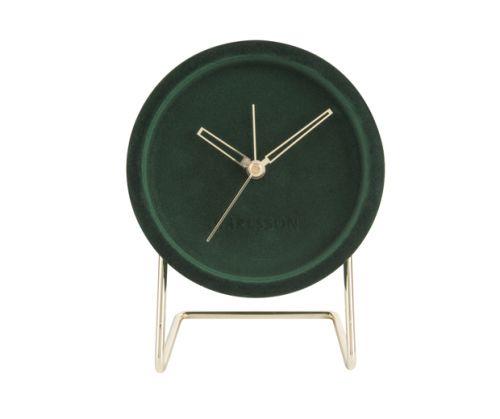 Alarm clock lush velvet dark green
