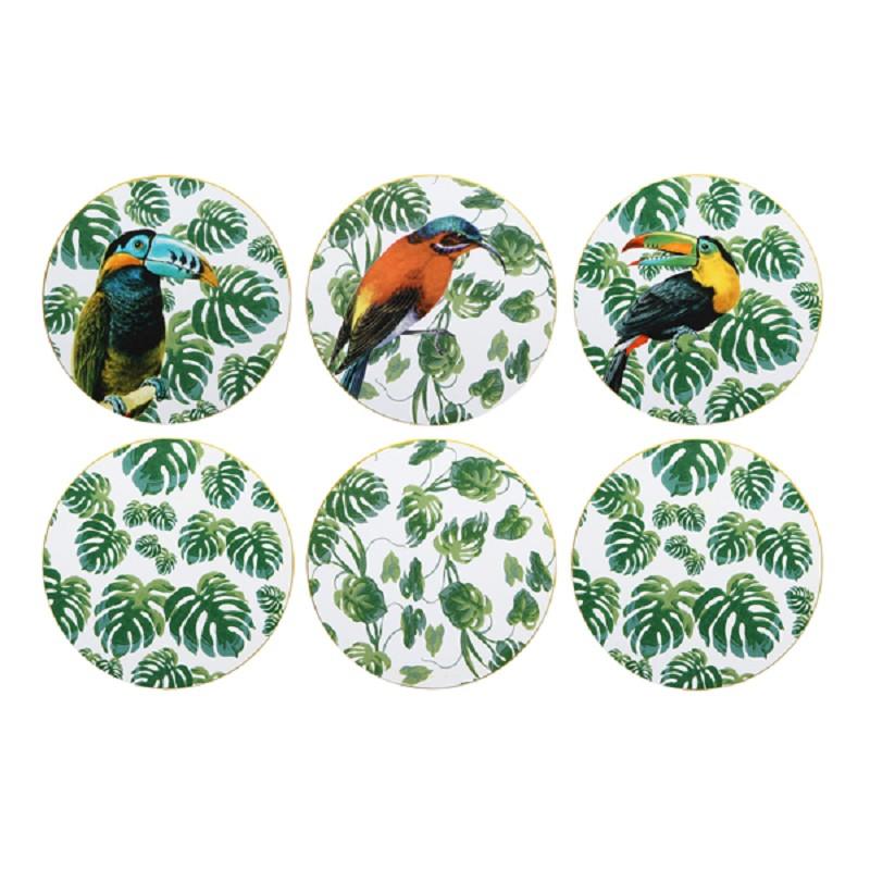 Set of 6 jungle coasters